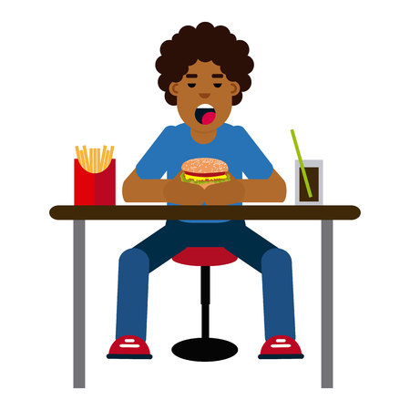 African boy eating hamburger on white background.