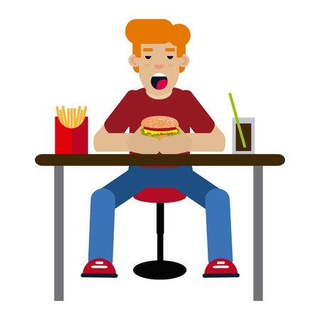 Boy eating hamburger on white background.