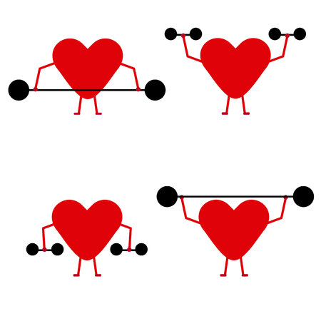 Strong hearts lifting weights on white background.
