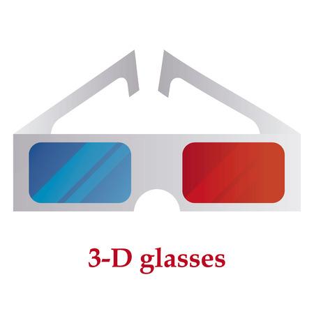 3-D glasses on white background. Illustration