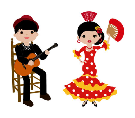Flamenca with red dress and guitarist man