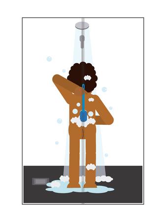 African man showering Ilustrace