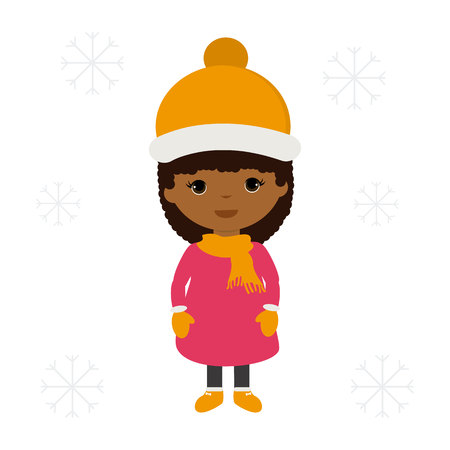 African girl with warm clothes illustration. 免版税图像 - 92497174