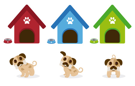 Puppies with bone in the mouth illustration. Çizim