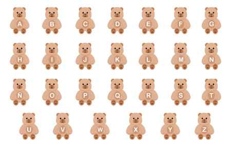 Bears with letters of the alphabet. 免版税图像 - 93295846