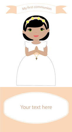 Communion Reminder with space for text and a girl in white dress
