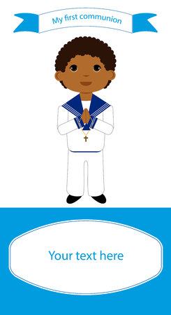 Communion reminder with space for text and a boy in white clothes.
