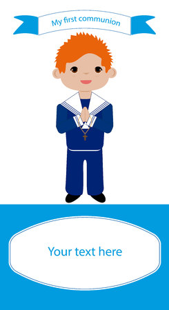 Reminder Communion red-haired boy in blue suit