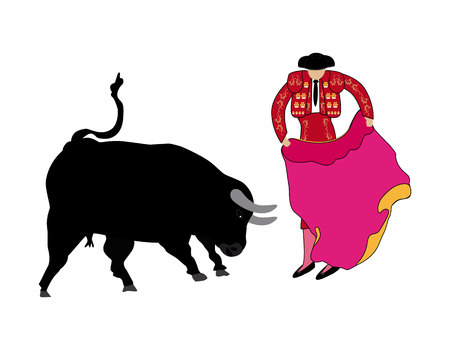 Bullfighter with bull in vector