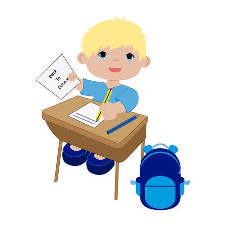 Child sitting on desk Illustration