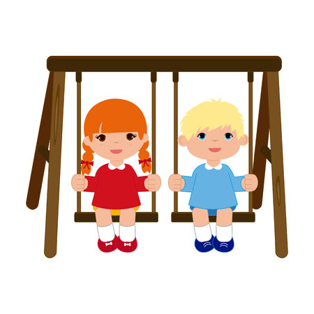 Girl and Boy sitting on the swing Stock Vector - 109614015