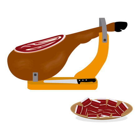 Iberian ham in vector illustration 向量圖像