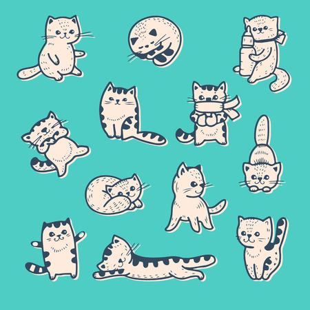 gato dibujo: Conjunto de vectores gatitos divertidos dibujos animados. Vectores