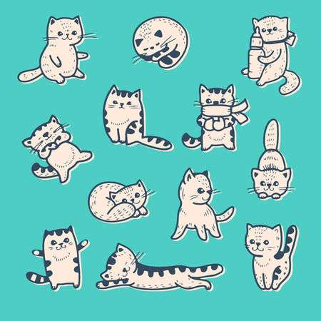 cute animals: Vector set funny cartoon kittens.