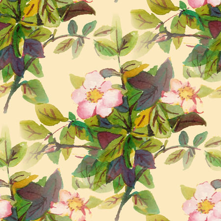 dog rose: Seamless pattern with watercolor flowers. Dog rose. Vector illustration.