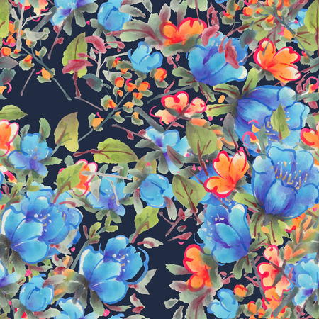 Seamless pattern with watercolor flowers.  Blue and orange flowers on a dark background.  Vector illustration.