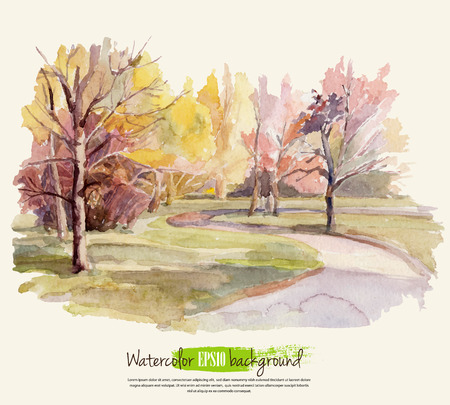 rural scenes: Autumn landscape. Watercolor. Vector illustration.