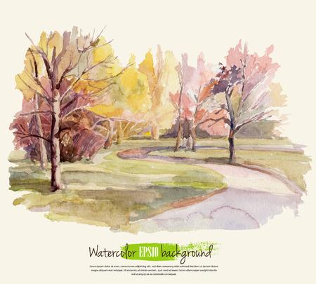 Autumn landscape. Watercolor. Vector illustration.