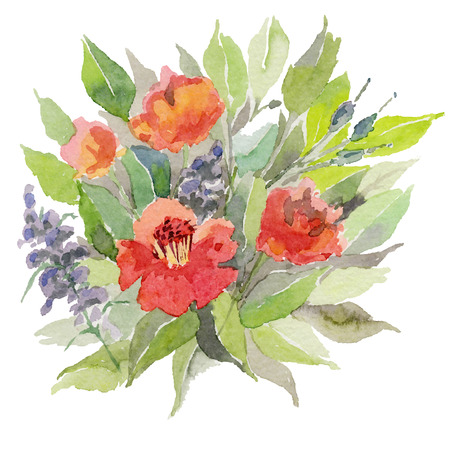 Watercolor flowers. Vector illustration.