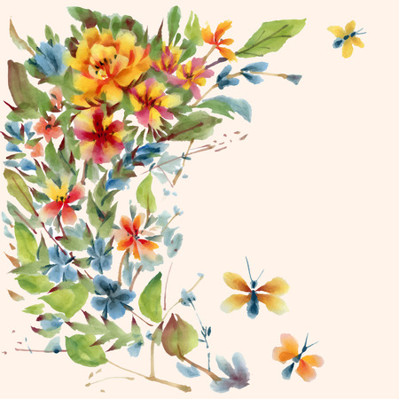gently: Watercolor  flowers and butterflies, isolated on a white background. Vector illustration.