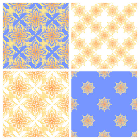 color scale: Set of 4 seamless  patterns in one color scale.  Endless mosaic background. Vector illustration. Illustration
