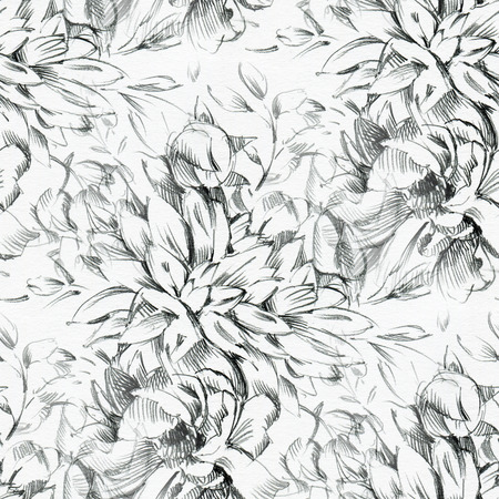 Seamless pattern with pencil drawing of flowers. Endless background. Stock Photo