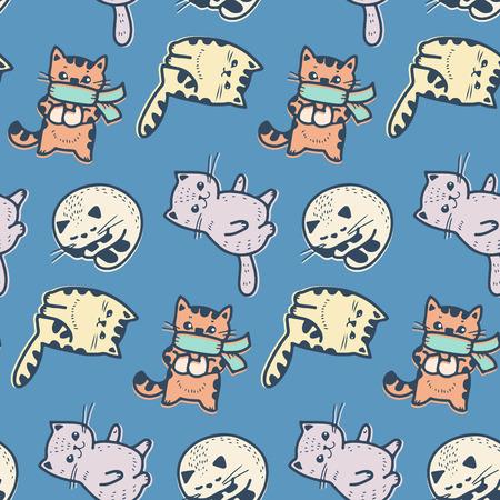 Naadloos patroon - grappige beeldverhaalkatjes. Vector illustratie.