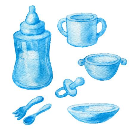 Gebruiksvoorwerpen voor het voeden van baby's. Schets blauwe aquarel potlood. Vector illustratie.