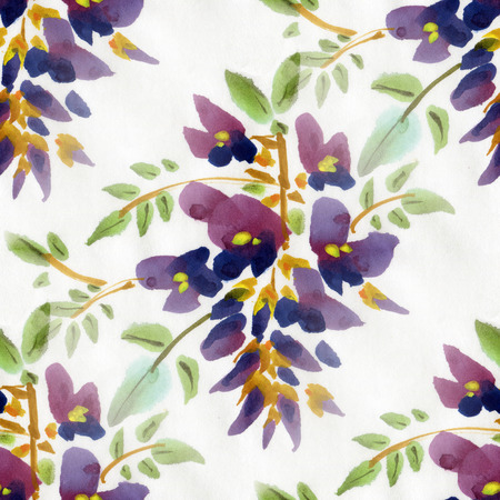 wistaria: Seamless pattern with watercolor flowers. Wistaria flowers on a white background. Stock Photo