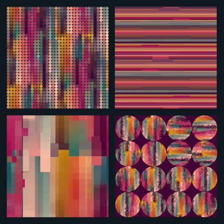color scale: Set of 4 seamless  patterns with circles and strips in one color scale. Vector illustration