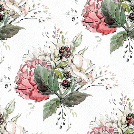 pastel flowers: Seamless pattern with watercolor flowers in pastel tones.