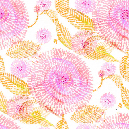 Seamless pattern with watercolor flowers in doodle style.