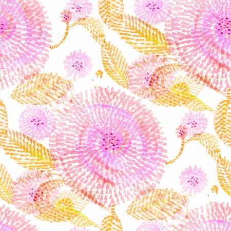 Naadloos patroon met waterverfbloemen in krabbelstijl. Stockfoto
