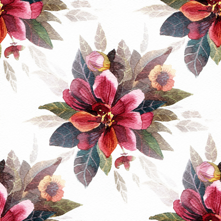 Seamless pattern with watercolor flowers. Bright flowers on a white background. Reklamní fotografie