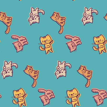 funny: Seamless pattern - funny cartoon kittens.