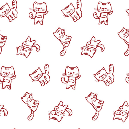 kitten cartoon: Seamless pattern - funny cartoon kittens.