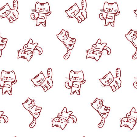 cute kitten: Seamless pattern - funny cartoon kittens.