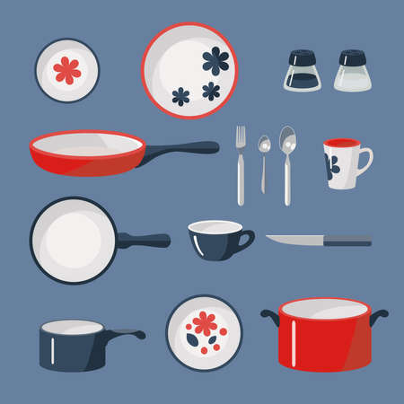 wares: Vector set of crockery and kitchen wares.