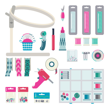 hoops: Embroidery hoops, threads, band, the glue gun, pins and other tools for embroidery and needlework. Vector set.