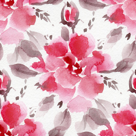 red wallpaper: Seamless pattern with watercolor flowers