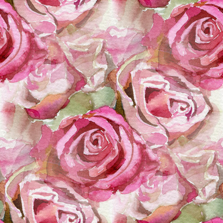 Seamless pattern with pink roses. Watercolor illustration.