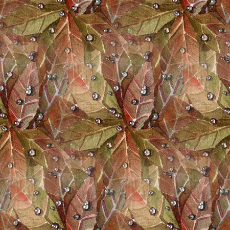 dew: Seamless pattern with autumn leaves and dew drops