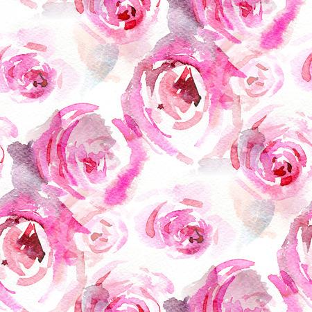 Seamless pattern con rose rosa. Illustrazione dell'acquerello. Archivio Fotografico - 44258197