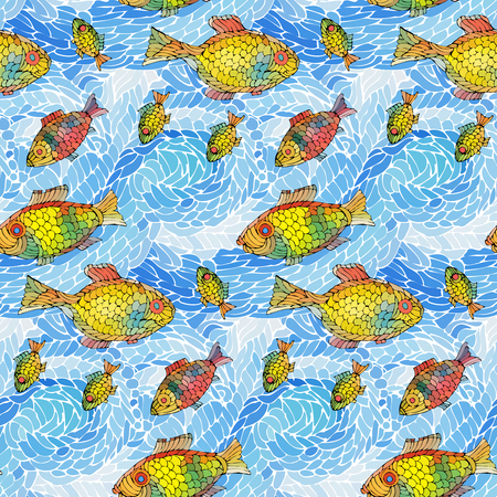 Seamless pattern of waves and fish.Vector illustration.  イラスト・ベクター素材