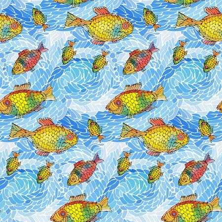 Naadloze patroon van golven en vissen. Vector illustratie. Stock Illustratie