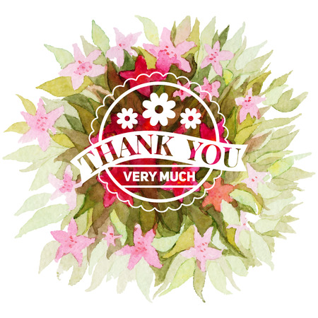 Thank you card.Vector illustration.