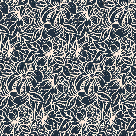 garden flower: Seamless pattern - black and white flower background in doodle style. Vector illustration. Illustration