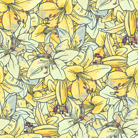 tiger lily: Seamless pattern with yellow  lilies. Drawing ink and colored pencils.