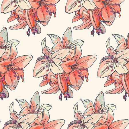 tiger lily: Seamless pattern with  red  lilies. Drawing ink and colored pencils.