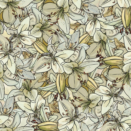 tiger lily: Seamless pattern with  white  lilies. Drawing ink and watercolor.